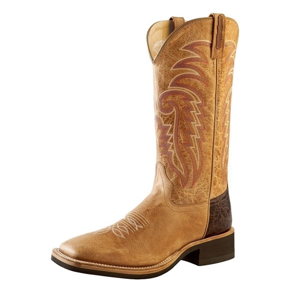 Old West Cowboy Boots Mens Crepe Outsole Tan Fry Brown Tumble