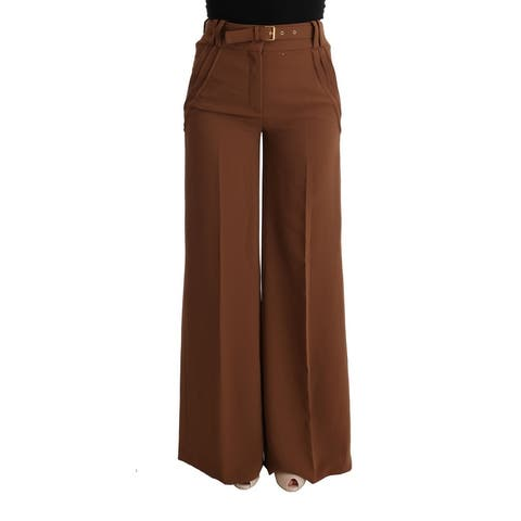 Cavalli Brown Polyester Boot Cut Women's Pants
