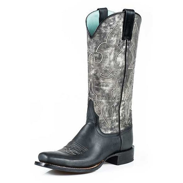 Stetson Western Boot Women Marbled Black Gray