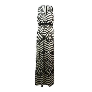 Calvin Klein Women's V-Neck Printed Chiffon Maxi Dress