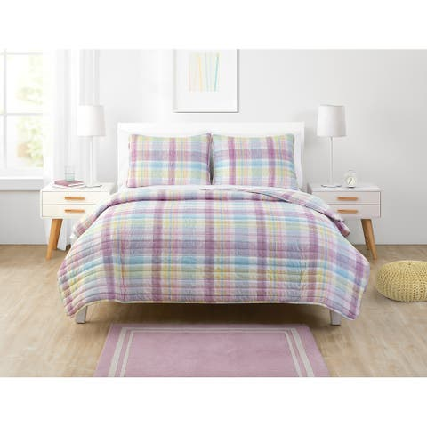 Olivia & Finn Madison Purple Plaid Quilt Set