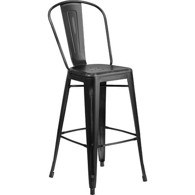 Brimmes 30'' High Distressed Black Metal Indoor/Outdoor/Patio/Bar Barstool w/Back