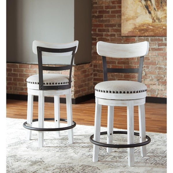 Valebeck White Counter Height Swivel Stool - N/A. Opens flyout.