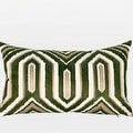 """G Home Collection Luxury Green Classical Geometry Pattern Embroidered Pillow 12""""X20"""" - Thumbnail 0"""