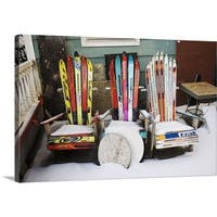 Premium Thick-Wrap Canvas entitled Chairs made from skis - Multi-color