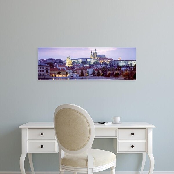 Easy Art Prints Panoramic Images's 'Castle lit up at dusk, Hradcany Castle, Prague, Czech Republic' Premium Canvas Art