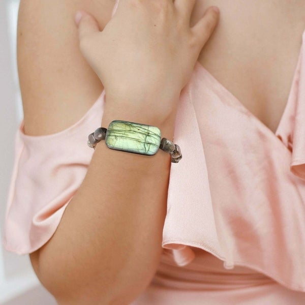 Natural Labradorite Stretch Bracelet Healing Handmade Gemstone Women Jewelry. Opens flyout.