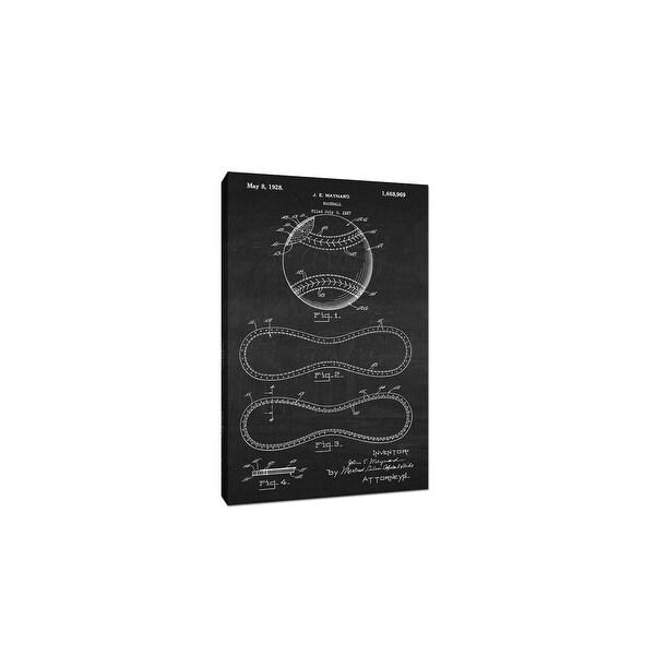 Baseball Canvas (White on Chalkboard) - Sports Patents - 20x12 Canvas