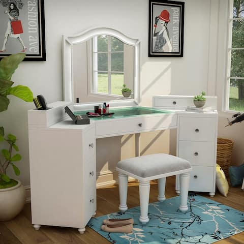 Furniture of America Ulru Transitional Solid Wood Vanity Set