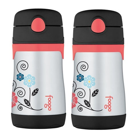 Thermos Foogo Vacuum Insulated 10 Oz Straw Bottle (Poppy Patch Pattern, 2-Pack)
