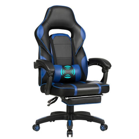 Massage Gaming Chair with Footrest & Lumbar Support