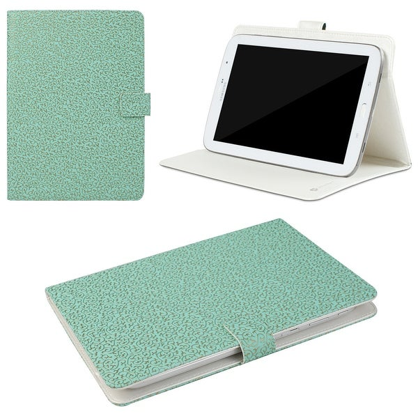 "JAVOedge Embossed Golden Ivy Universal 7-8"" Book Case for the iPad Mini, Samsung Tab, Nexus 7, Nook HD (Turquoise)"