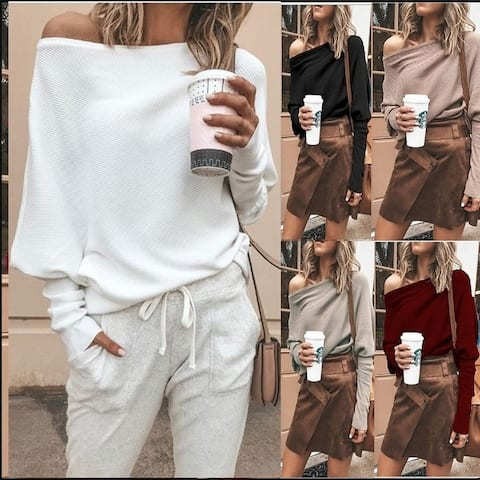 S-5Xl Fashion Womens Sweater Solid Color Off-Shoulder Knit Long Sleeve T-Shirt Top Plus Size