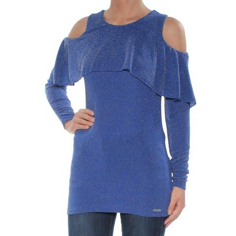 MICHAEL KORS Womens Blue Cold Shoulder Embellished Long Sleeve Jewel Neck Top Size: XS