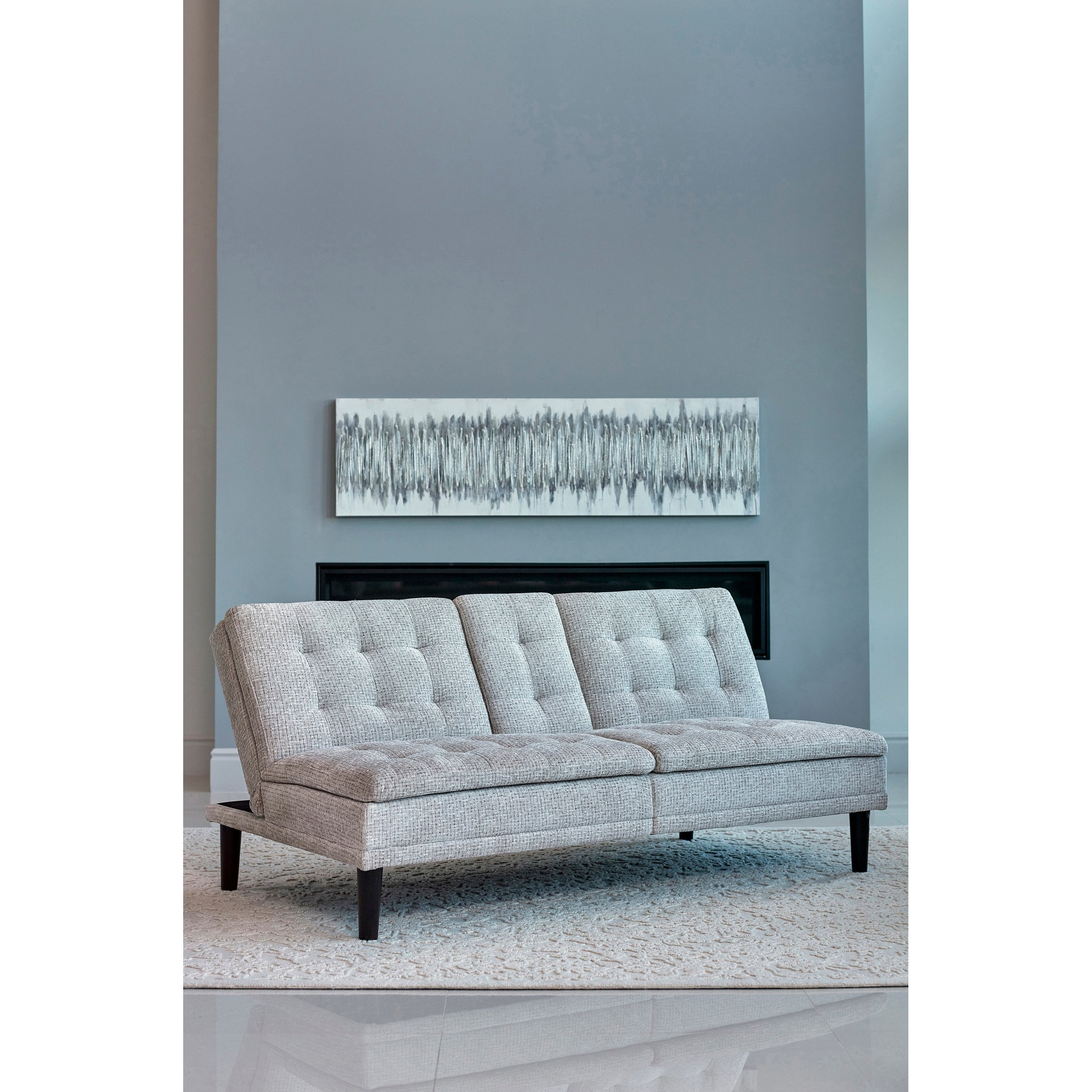Shop Carson Carrington Odelryd Tufted Sofa Bed With Drop Down Console Overstock 31684165 Beige