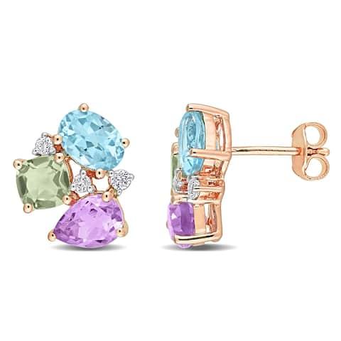 Miadora Multi-Shape Multi-Color Gemstone Cluster Stud Earrings in Rose Plated Sterling Silver