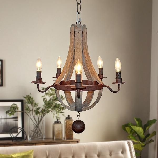 Distressed Wood Chandelier: Shop Rustic 5-Light Distressed Wood Chandelier