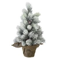 "15"" Flocked Mini Pine Christmas Tree with Berries in Burlap Covered Vase - N/A"