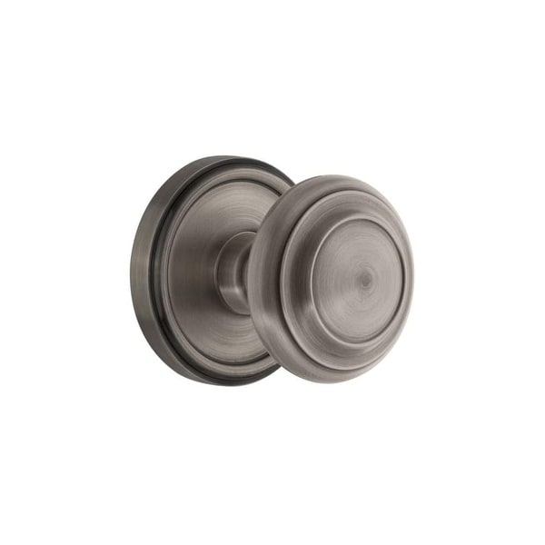 "Grandeur GEOCIR_PSG_234 Georgetown Solid Brass Rose Passage Door Knob Set with Circulaire Knob and 2-3/4"" Backset"