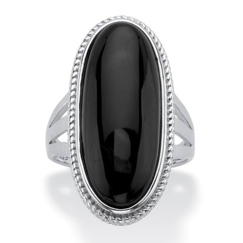 Sterling Silver Natural Black Onyx Spllit Shank Ring