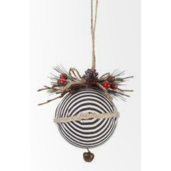 "4.75"" Country Rustic Black and White Striped Ball Christmas Tree Ornament with Pine and Berry Accent"