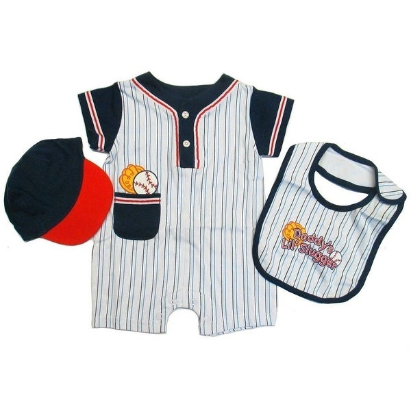 Baby Boys Blue Red Striped Bib Snap Closure Romper Cap Hat 3 Pc Set 3-9M