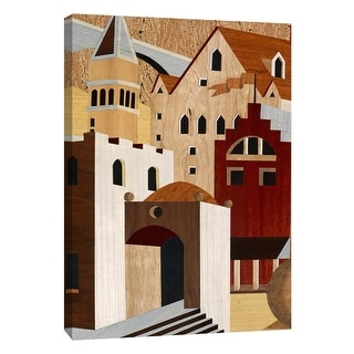 """PTM Images 9-108351  PTM Canvas Collection 10"""" x 8"""" - """"Village Scenery II"""" Giclee Houses Art Print on Canvas"""