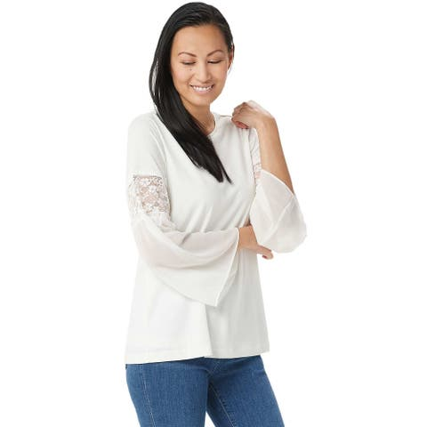 Susan Graver Womens Liquid Knit Top 1X with Chiffon & Lace Sleeves Ivory A350143