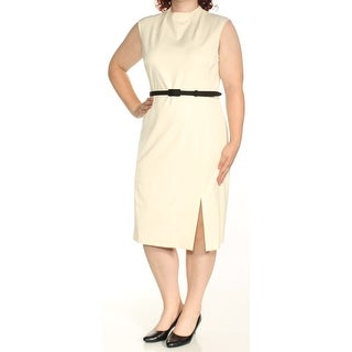 Womens Ivory Sleeveless Knee Length Sheath Wear To Work Dress Size: 16