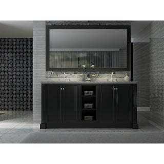 """Ariel C073D  Westwood 73"""" Free Standing Vanity Set with Wood Cabinet, Stone Top, 2 Undermount Sinks and 1 Mirror"""