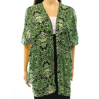 Soprano NEW Green Size Large L Junior Printed Open Front Kimono Sweater