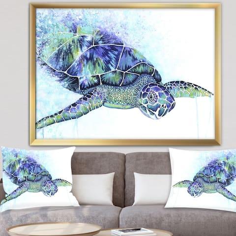 Designart 'Sea Turtle' Cottage Framed Art Print