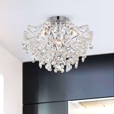 Dalia Elegant Indoor 3-light Chrome Crystal Flush Mount