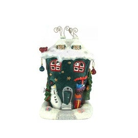 10 Inch Handpainted Holiday Earthenware House Votive Holder