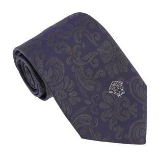 Versace Navy Green Woven Tonal Baroque Tie