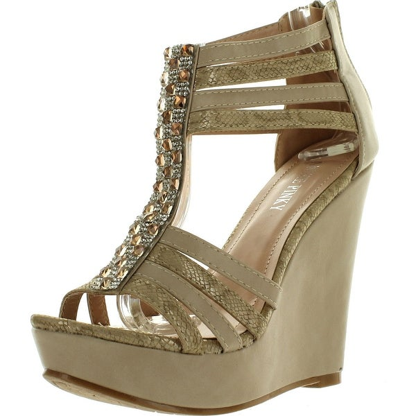 Annie Pinky Gayle-01 Women's Open Toe Strappy Platform Wedge Sandals