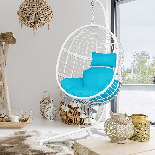 Agats Outdoor Wicker Basket Swing Chair with Cushions by Havenside Home. Opens flyout.