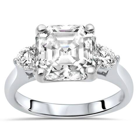 14k White Gold 3ct Asscher Moissanite & 1/3ct Diamond 3 Stone Engagement Ring