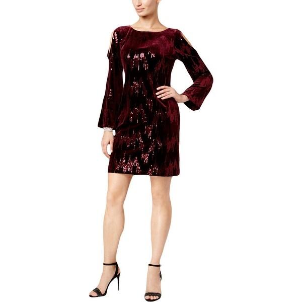 Jessica Howard Womens Petites Cocktail Dress Velvet Sequined