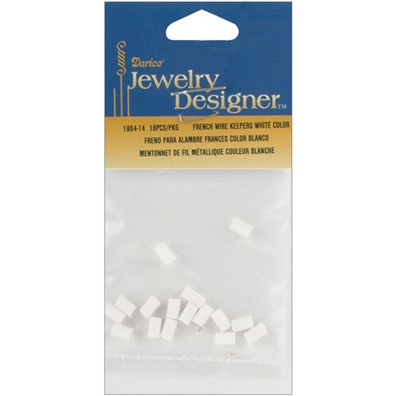 French Wire Rubber Earring Backs 18/Pkg-White - White