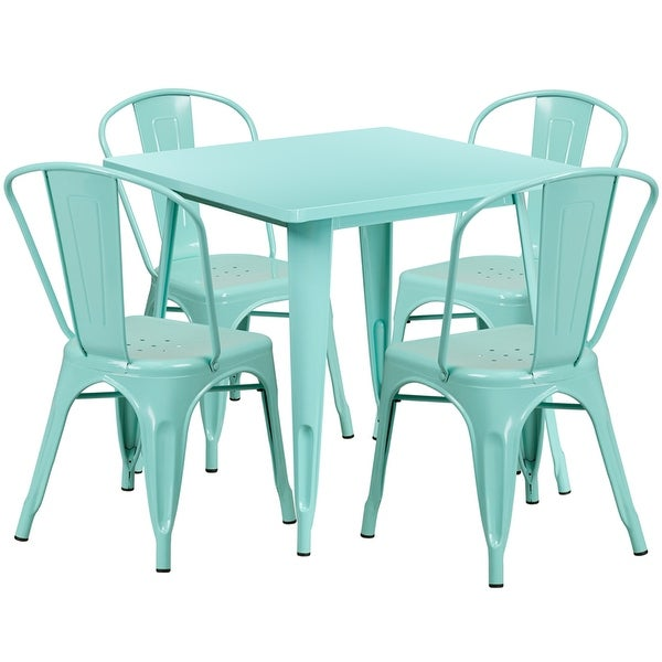Brimmes 5pcs Square 31.5u0026#x27;u0026#x27; Mint Green Metal Table W