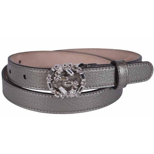 ab4d9f4f5 Gucci Women's Metallic Grey Leather Swarovski Crystal GG Buckle Skinny  Belt 38