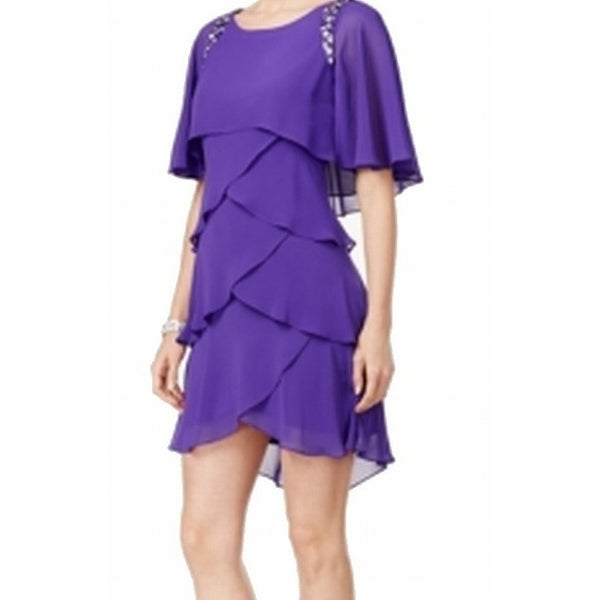 1f8c867a Shop SL Fashions NEW Purple Women's Size 10 Tiered Embellished Sheath Dress  - Free Shipping On Orders Over $45 - Overstock - 18805229