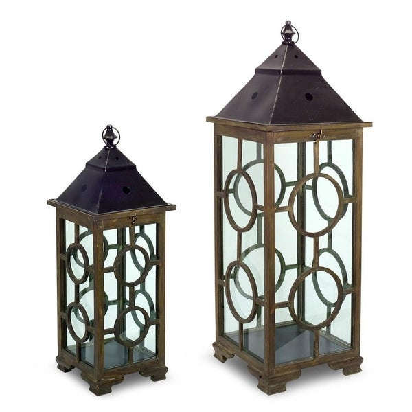 Shop Set Of 2 Brown And Black Antique Style Decorative Lantern Home