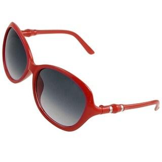 Women Crimson Plastic Full Rim Oversize Raindrop Shaped Lens Sunglasses