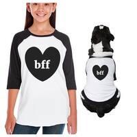Bff Heart Kid and Pet Matching Baseball Raglan Shirts 3/4 Sleeve