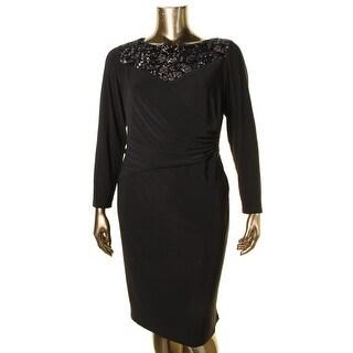 Lauren Ralph Lauren Womens Plus Cocktail Dress Sequin Neckline Gathered