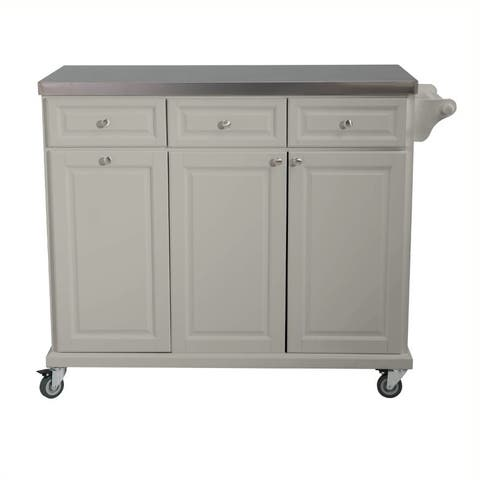 Sunjoy Buckhead Kitchen Island Cart with Stainless Steel Countertop