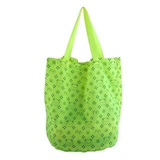 Home Polyester Folding Tote Handbag Clothes Cosmetic Holder Shopping Bag Green