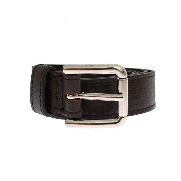 Dolce & Gabbana Black Leather Silver Buckle Logo Belt